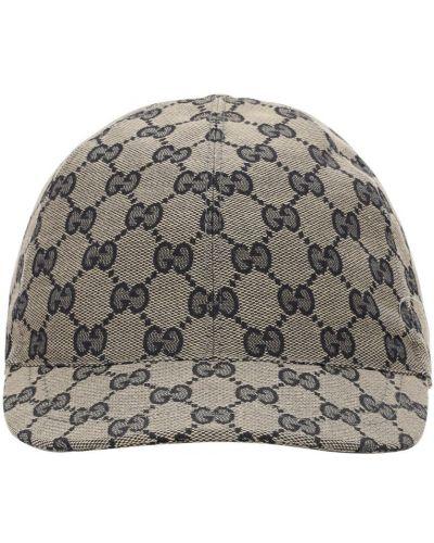 Beżowy kapelusz bawełniany z printem Gucci