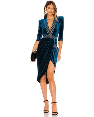 Niebieska sukienka wieczorowa z aksamitu Zhivago
