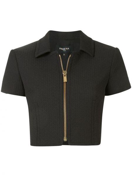 Черный короткая куртка с короткими рукавами с воротником Paule Ka