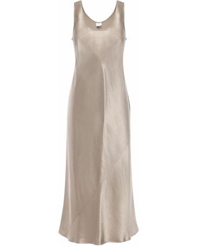 С ремешком сатиновое бежевое платье миди на бретелях Max Mara