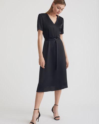 Приталенное платье миди с поясом с вырезом Charuel