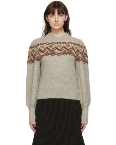Бежевый шерстяной длинный свитер с воротником Chloé