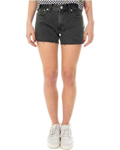 Czarne szorty jeansowe z wysokim stanem z haftem Calvin Klein