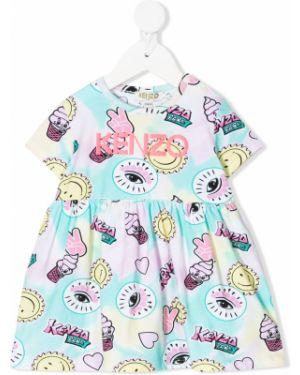 Różowa sukienka mini rozkloszowana krótki rękaw Kenzo Kids