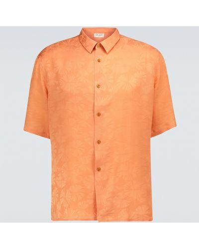 Pomarańczowa klasyczna klasyczna koszula z jedwabiu Saint Laurent