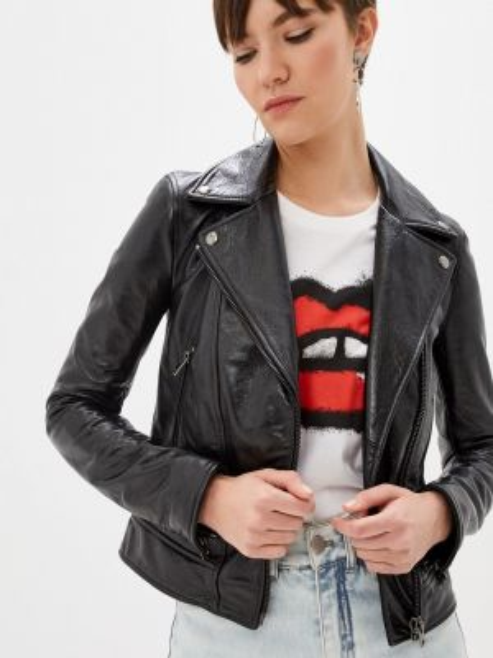 Кожаная куртка черная весенняя Blouson