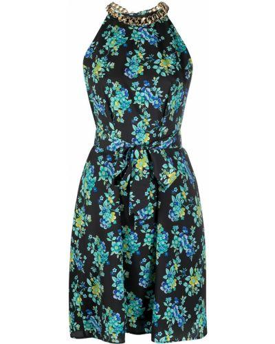 Czarny sukienka bez rękawów wzór w kwiaty Pinko