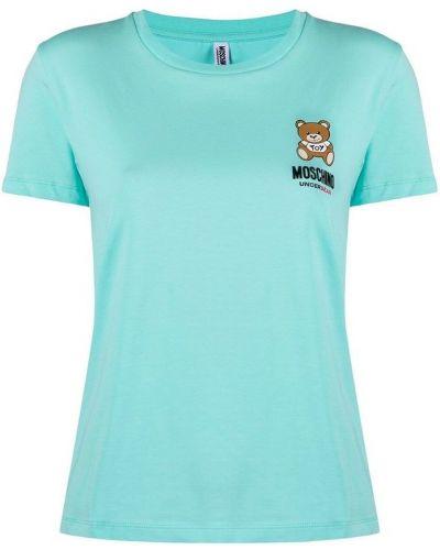T-shirt z printem - niebieska Moschino