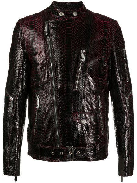 Черная кожаная куртка на молнии Philipp Plein