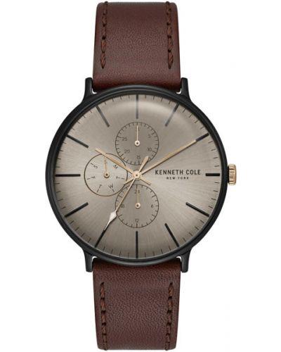 Часы водонепроницаемые с кожаным ремешком коричневый Kenneth Cole