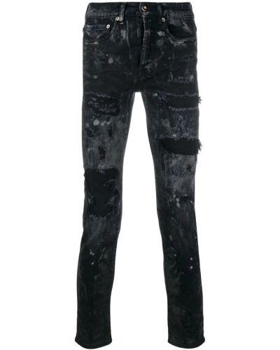 Зауженные черные джинсы-скинни на пуговицах из микрофибры Overcome