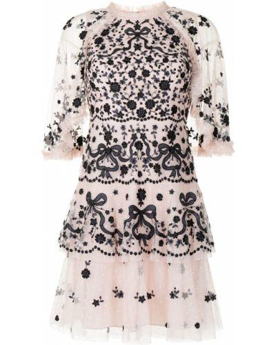 С рукавами розовое платье мини с подкладкой Needle & Thread