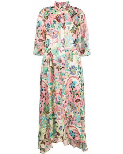 Льняное прямое розовое платье-рубашка Anjuna