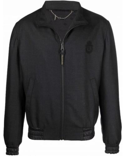 Кожаная куртка на молнии - черная Billionaire