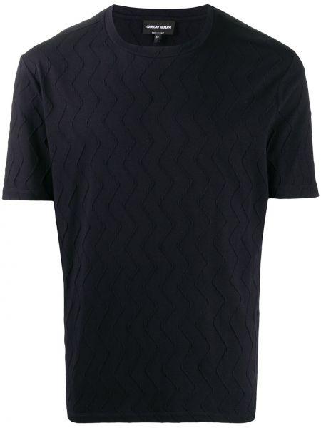 Czarny t-shirt bawełniany krótki rękaw Giorgio Armani