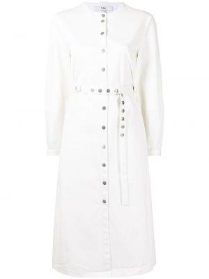 Biała sukienka zapinane na guziki Tibi