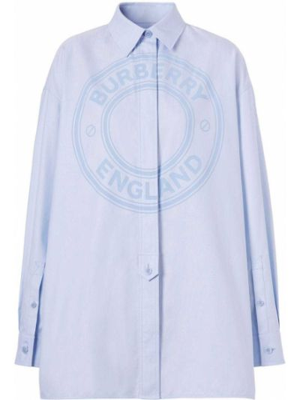Хлопковая синяя оксфордская рубашка с длинными рукавами Burberry
