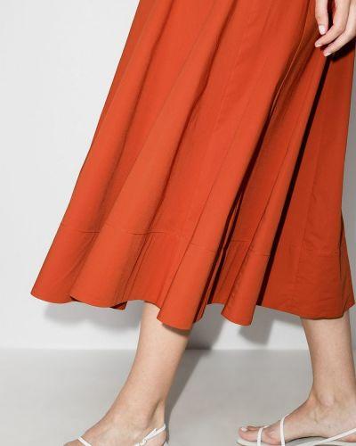 Оранжевое хлопковое платье миди на молнии Staud