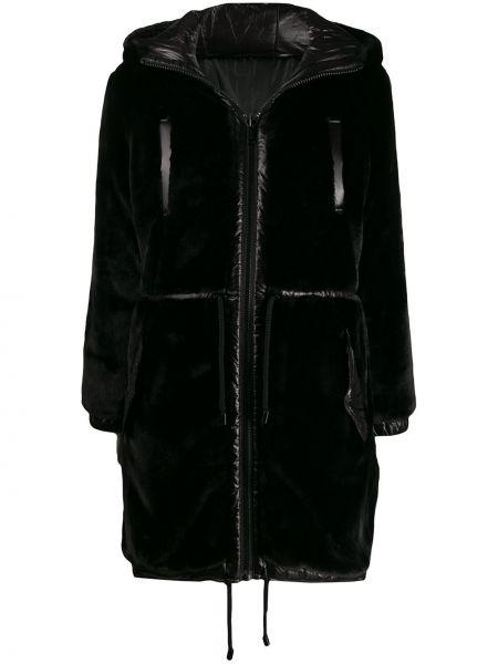 Прямое черное длинное пальто с капюшоном Michael Michael Kors