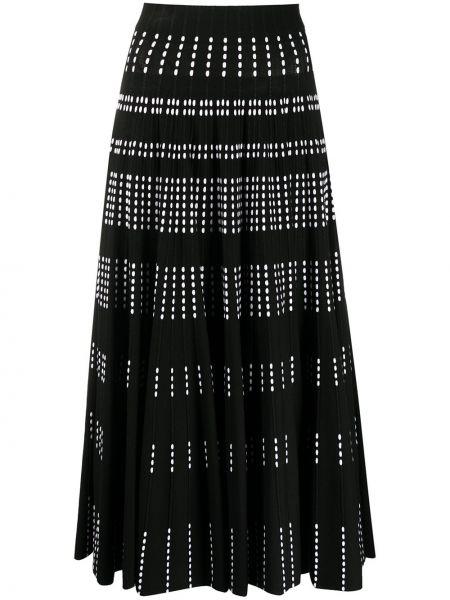 Черная с завышенной талией плиссированная юбка с рисунком из вискозы Antonino Valenti