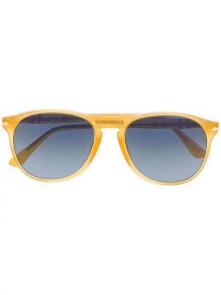 Прямые желтые солнцезащитные очки прозрачные Persol