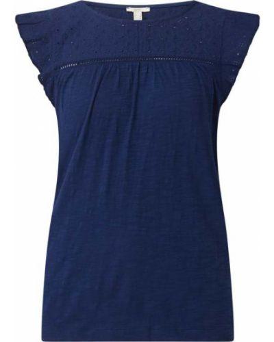 Niebieska bluzka bawełniana z haftem Esprit