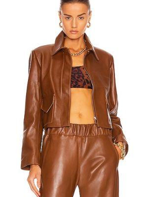 Коричневая турецкая кожаная куртка Nour Hammour