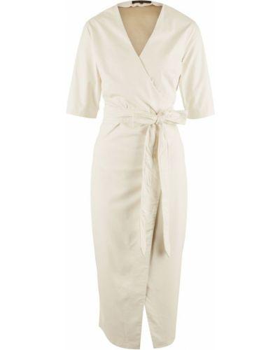 Белое платье миди с запахом Love Republic