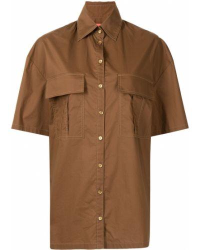 Коричневая хлопковая классическая рубашка с короткими рукавами Manning Cartell