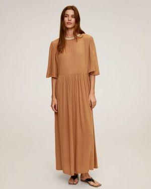 Платье мини с жемчугом с рукавами Mango