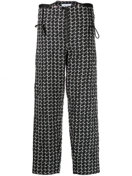 Черные брюки на пуговицах с высокой посадкой из вискозы Christian Wijnants
