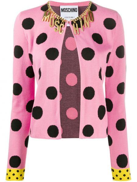 Хлопковый розовый удлиненный пиджак круглый Moschino