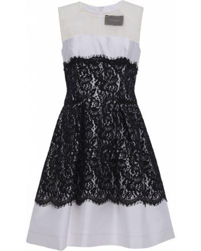 Шелковое кружевное черное платье мини Carolina Herrera