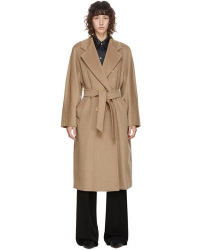 Бежевое шерстяное длинное пальто с воротником с лацканами Max Mara