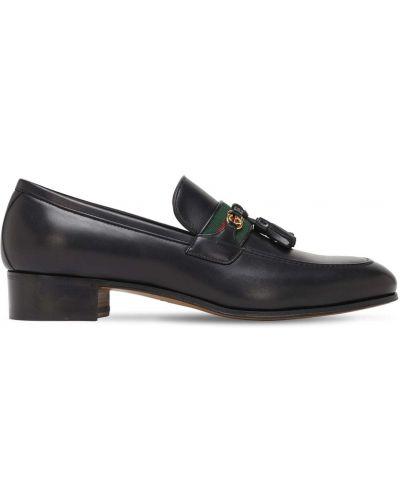 Czarny loafers z frędzlami metal na pięcie Gucci