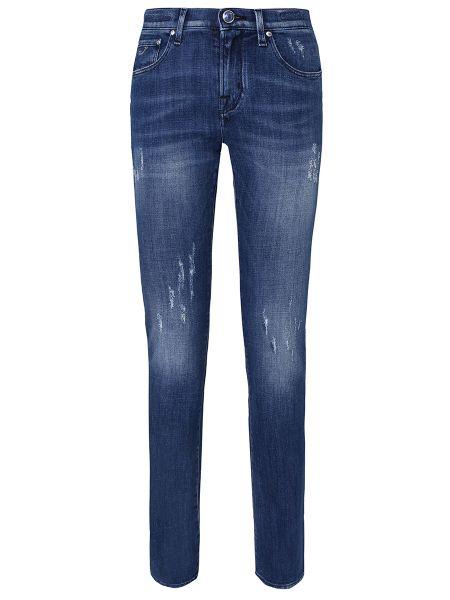 Синие прямые джинсы с нашивками с карманами на пуговицах Jacob Cohen