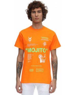 Pomarańczowy t-shirt bawełniany z printem Taboo