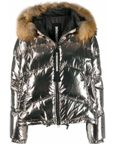 Куртка с капюшоном длинная серебряная As65