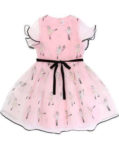 Платье с поясом розовое с вышивкой Simonetta