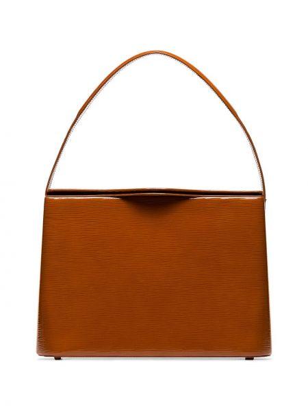 Кожаная лаковая коричневая кожаная сумка Rejina Pyo