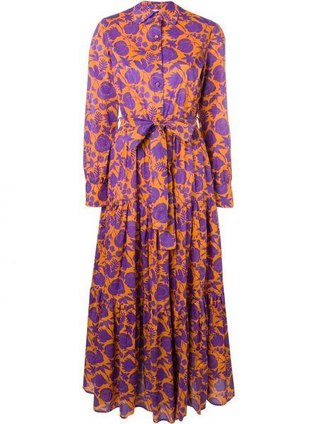 Оранжевое классическое платье на пуговицах с воротником La Doublej