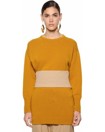 Шерстяной свитер с воротником с поясом Marni
