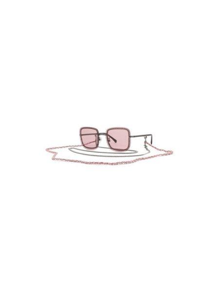 Повседневные муслиновые розовые солнцезащитные очки квадратные Chanel