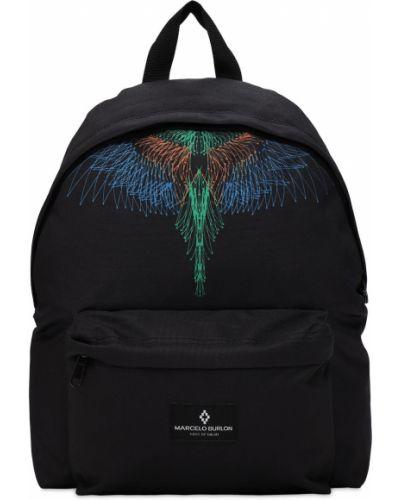 Czarny plecak z nylonu z printem Marcelo Burlon County Of Milan