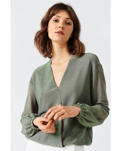 Блузка с V-образным вырезом на резинке Simple
