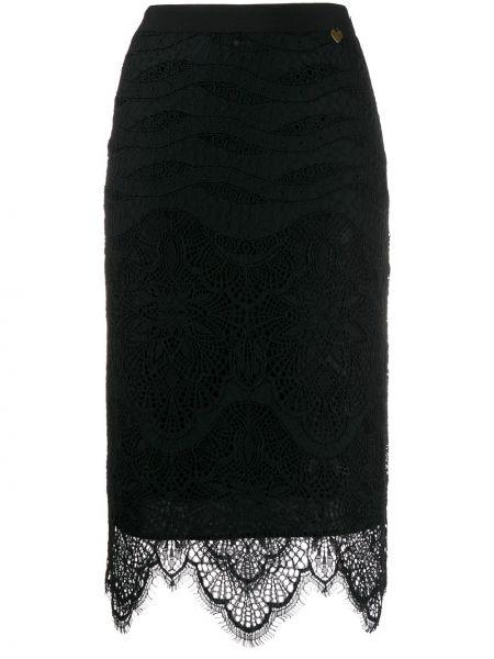 Черная с завышенной талией юбка карандаш с поясом с рукавом 3/4 Twin-set