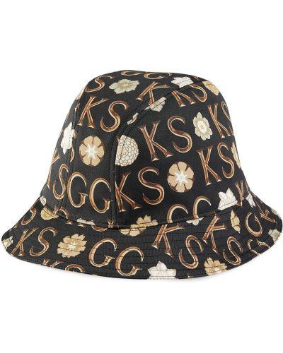 Czarny kapelusz bawełniany z printem Gucci