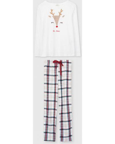 Хлопковая домашняя белая пижама Ostin