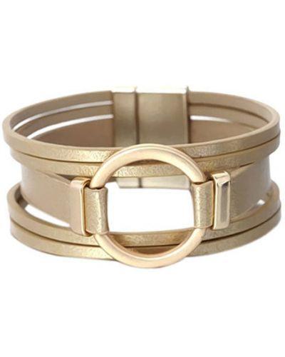 Кожаный браслет золотой желтый Evora