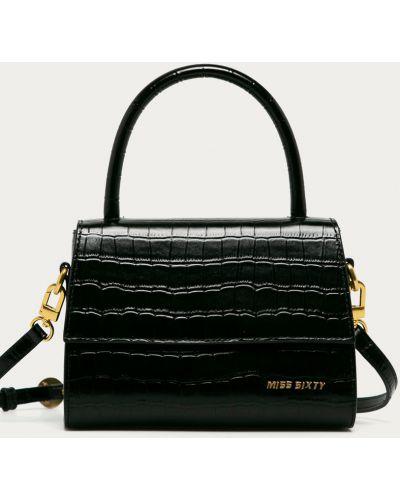 Czarna torba z krótkimi uchwytami skórzana Miss Sixty